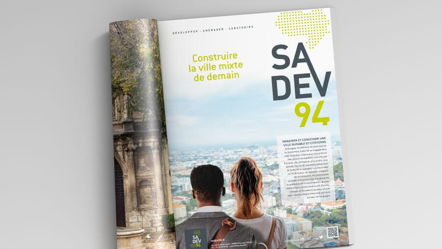 Comnext conçoit l'annonce presse institutionnelle Sadev 94